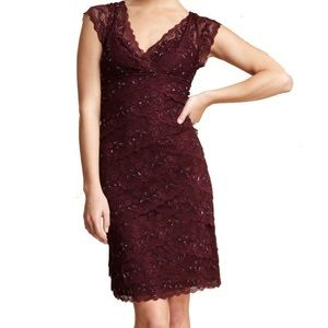 Marina Beaded Lace VNeck Tiered Dress Burgundy